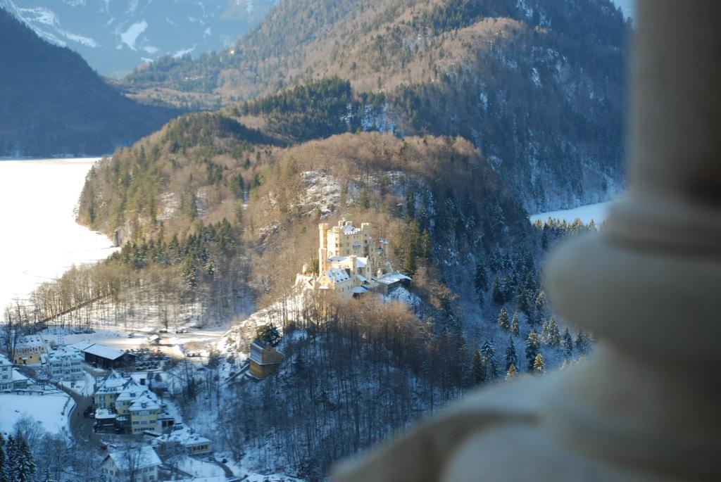 The old Hohenschwangau castle seen from Neuschwanstein. The lake, Alpsee, is seen on the left.