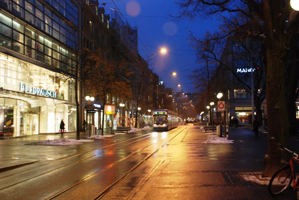 The main street, Bahnhofstrasse, at dawn